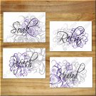 Purple Gray Wall Art Bathroom Bath Rules Flower Floral Pictures Prints Decor Relax Unwind