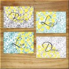 Teal Aqua Gray Yellow WORDS Wall Art Pictures Prints Decor Floral Flower Damask LIVE LOVE