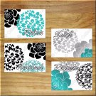 Black Teal Gray Bathroom Wall Art Pictures Prints Decor Flower Floral Unwind Soak Relax +
