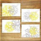YELLOW GRAY Wall Art Pictures Prints Decor Bathroom Bedroom Floral Flower Modern Abstract
