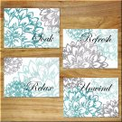 Teal Aqua/Turquoise Gray Wall Art Bathroom Bath Pictures Prints Decor Peony Floral Flower