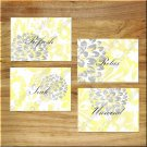 Yellow Gray Bathroom Wall Art Pictures Prints Decor Distressed Rustic Floral Flower Quote