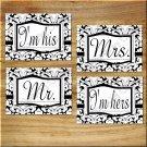 Black White Wall Art Pictures Prints DAMASK Mr & Mrs Wedding Bedroom Bathroom Gift Decor