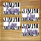 Purple Black White ZEBRA Wall Art Pictures Prints Decor Love Dream Believe Live Bedroom++