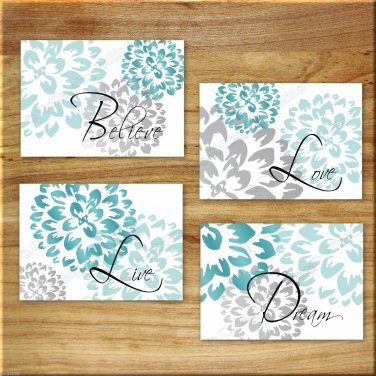 Teal Aqua Gray Wall Art Pictures Prints Decor Floral Flower Motivational Words Live Laugh