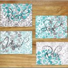 Teal Gray Aqua Bathroom Wall Art Pictures Prints Decor Floral Damask Quotes Relax Unwind