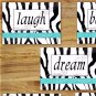 Zebra Turquoise Wall Art Pictures Prints Girl Teen Dorm Room Live Laugh Love Motivational