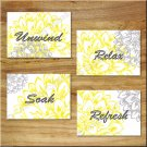Gray Yellow Wall Art Pictures Prints Flower Floral Home Decor Bathroom Bath Unwind Relax