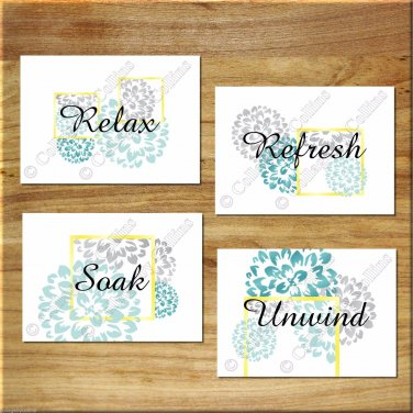 Teal Aqua Gray Yellow Bathroom Wall Art Pictures Prints Decor Floral Design Soak Unwind
