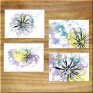 Teal Purple Yellow Gray Wall Art Prints Pictures Modern Daisy Floral Bathroom Kitchen Den