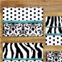 Teal Black White Zebra Wall Art Pictures Prints Pictures Polka Dot Damask Bedroom Bathroom Decor