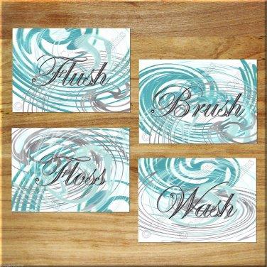 Teal Gray Aqua Modern Bathroom Bath Rules Pictures Wall Art Pictures Prints WASH Flush BRUSH Floss