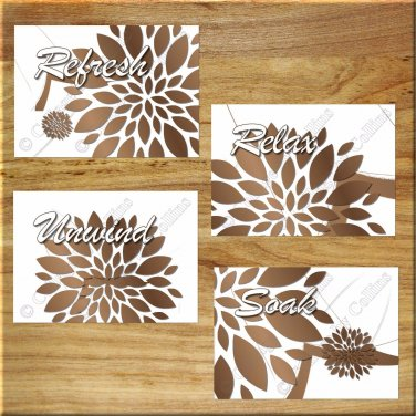 Brown Tan Bathroom Wall Art Prints Decor Modern Floral Quotes Relax Soak Refresh