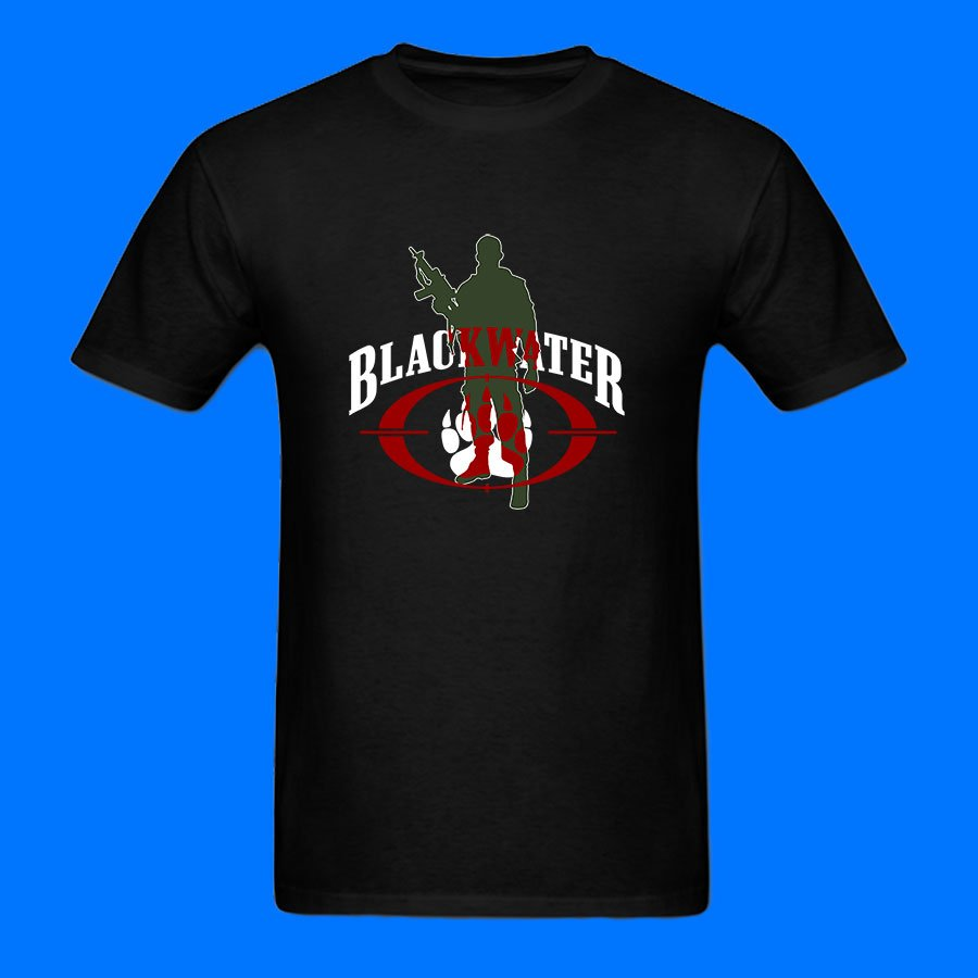 Blackwater Army Military scurity secret. Black and White T-Shirt