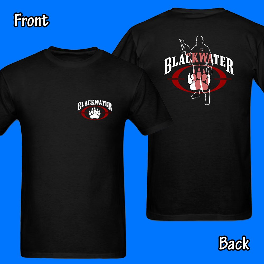 Blackwater Army Military scurity secret. Black T-Shirt 2 Side artwork