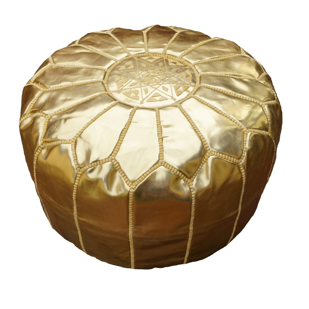 Gold Moroccan Leather Pouf, Pouffe, Ottoman, Footstool