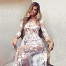 Semi-Sheer White Floral Embroidered Mesh Illusion Maxi Long Party Dress