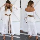 White Boho Crochet Bell Sleeves Off Shoulder Maxi Long Dress