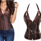 Gothic Retro Vintage Tapestry Steampunk Corset with Chain Belt Halloween Costume