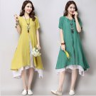 Fashion  Asian Style Layered Multi Slit Linen Tunic Dress Spring Summer Casual