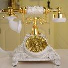 Vintage Antique Retro Rotary Handset Desk Resin Telephone European Style White