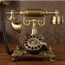 Vintage Antique Retro Rotary Handset Desk Resin Telephone European Style Bronze