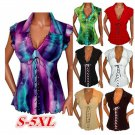 Women's Gothic Ruffle Sweetheart Lace Up Corset Top Plus Size Short sleeve