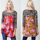 Blossom Floral Casual Jersey Top w Leopard Print Sleeves 4 Colors