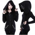 Black Witch Craft Punk Gothic Loop Fleece Hoodie Sweatshirt Top Plus Size