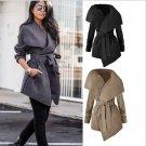 Women's Fashion Black Khaki Grey Big Collar Tie Waist Coat Winter Jacket