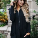 Women's Black Zip Up Long Hoodie Top with Asymmetric Edge Spring Autumn Fall