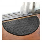 Semi-circle Ground Door Non-slip Mat Carpet   dark grey  48*78cm