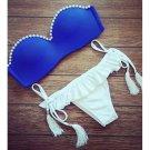 Fake Pearl Bikini Tie-up Women Sexy Swimwear Swimsuit Bathing Suit