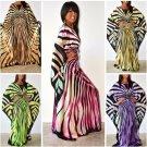 Sexy Butterfly Zebra Stripe Pattern Oversize Satin Batwing Kimono Cover Up Kafta