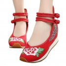 Sports Old Beijing Cloth Embroidered Shoes   Chinese red