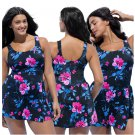 Women Classic Black Blossom Floral Padded One Piece Dress Swimsuit Padded Bra