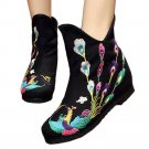Blatant Peacock Vintage Beijing Cloth Shoes Embroidered Boots black with cotton