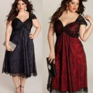 Plus Size Sexy Black Eyelash Lace Gathered Cocktail Party Dress Black/Red