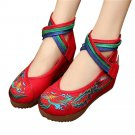Chinese Embroidered Shoes Women Ballerina Cotton Elevator shoes Phoenix Red
