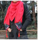 New Linen Embroidery Scarf Woman National Style Scarf Original Applique Opposite