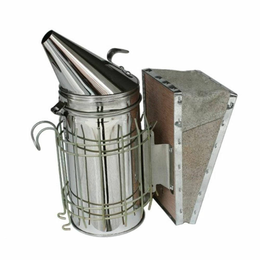 Large Bee Hive Smoker Stainless Steel w/Heat Shield Beekeeping Equipment Leather