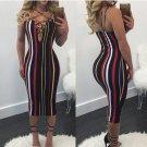 Sexy Colorful Vertical Stripe Strappy Bodycon Midi Party Dress