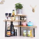 3 Tier Space Saving Bamboo Corner Shelf Desk with 4 Hooks Kitchen Bathroom