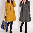 Chic Loose Fit Highlander Pocket Tunic Dress  Yellow Grey Army Green
