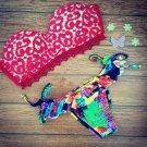 Red Macrame Lace Printing Bikini Swimwear Swimsuit Bathing Suit