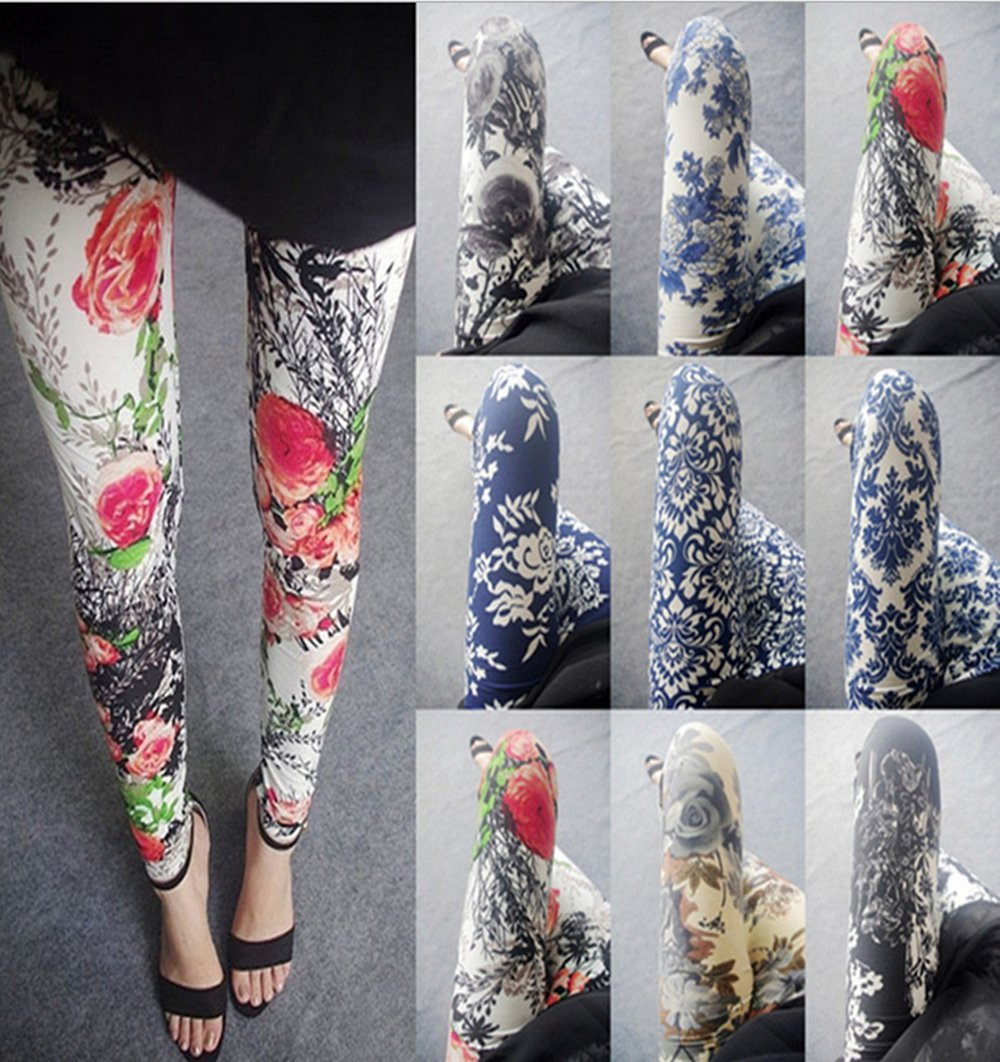Womens sexy leggings Stretchy  pants trousers Chinese traditional ink Pattern