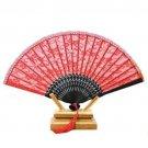 Double-layer Lace Folding Fan black bone golden silk red surface 21.5*40cm