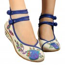 Peacock Old Beijing Cloth Embroidered Shoes