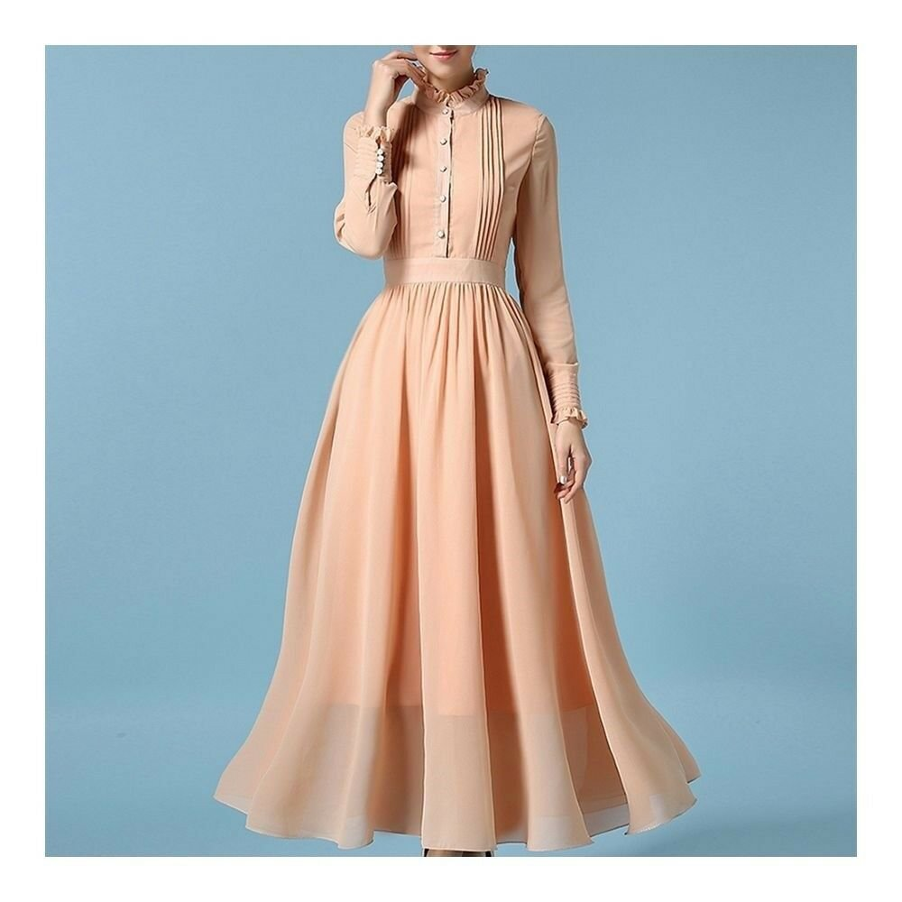 Long Sleeve Dress Stand Collar Macrame Pleat   nude pink  S
