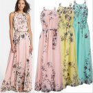 Romantic Pink/Blue/Yellow Floral Maxi Long Dress and  Belt